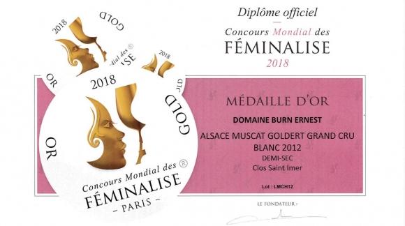 Médaille d'Or pour le Muscat Clos Saint-Imer 2012